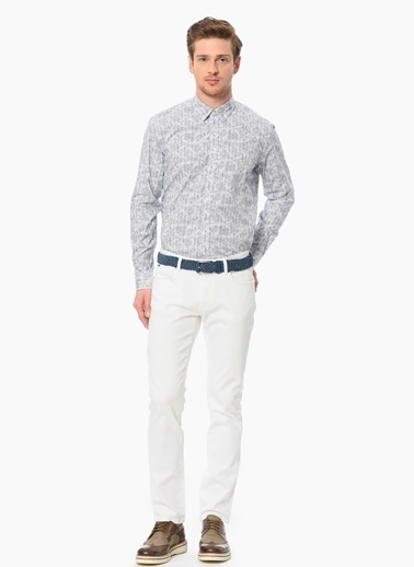 NetWork Slim Fit Desenli Uzun Kollu Gömlek Beyaz